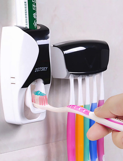 cheap Home & Garden-Automatic Toothpaste Dispenser Wall Mount Dust-proof Toothbrush Holder Set Storage Rack Bathroom Accessories Set Squeezer