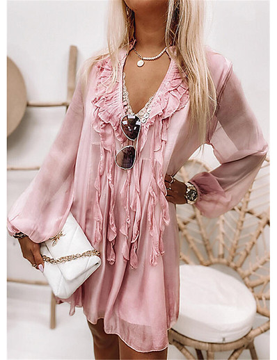 cheap Lace Dresses-Women's Knee Length Dress Chiffon Dress Blushing Pink Gray Long Sleeve Ruffle Solid Color V Neck Fall Spring Holiday Casual 2021 Regular Fit S M L XL XXL