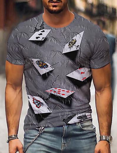 cheap Men's Tops-Men's Tee T shirt Graphic 3D Poker 3D Print Plus Size Print Party Short Sleeve Regular Fit Tops Casual Vintage Round Neck Purple Yellow Blue