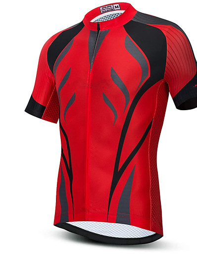 cheap Cycling-21Grams Men's Short Sleeve Cycling Jersey Summer Spandex Red Bike Top Mountain Bike MTB Road Bike Cycling Quick Dry Sports Clothing Apparel / Athleisure
