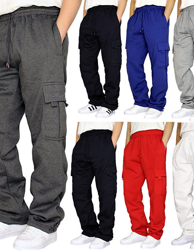 cheap Running, Jogging & Walking-Men's Cargo Pants Track Pants Street Bottoms Winter Fitness Gym Workout Running Training Exercise Breathable Soft Sweat wicking Sport Solid Colored Dark Grey White Black Red Army Green Light Grey