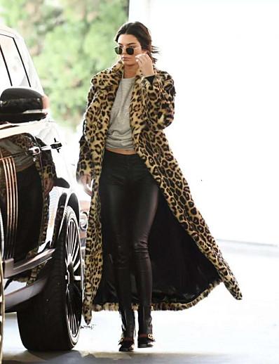 cheap Furs & Leathers-Women's Faux Fur Coat Daily Fall Winter Maxi Coat Regular Fit Warm Chic & Modern Sexy Jacket Long Sleeve Leopard Print Leopard Print Khaki