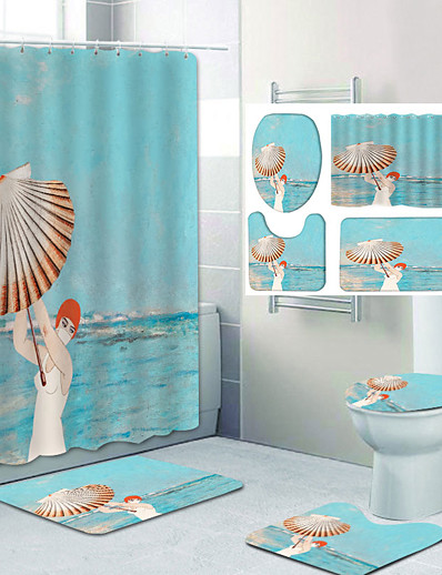 cheap Home & Garden-Cool for Summer Pattern Printing Bathroom Shower Curtain Leisure Toilet Four-Piece Design