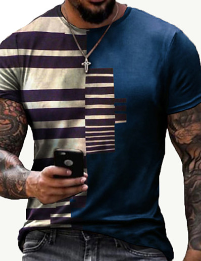 cheap Men's Tops-Men's Tee T shirt 3D Print Striped Graphic Prints Print Short Sleeve Daily Tops Cotton Casual Designer Big and Tall Blue Red Black