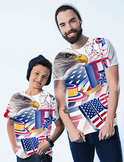 cheap Family Matching Outfits-Tops Dad and Son Graphic Flag Print Blue Short Sleeve 3D Print Daily Matching Outfits / Summer