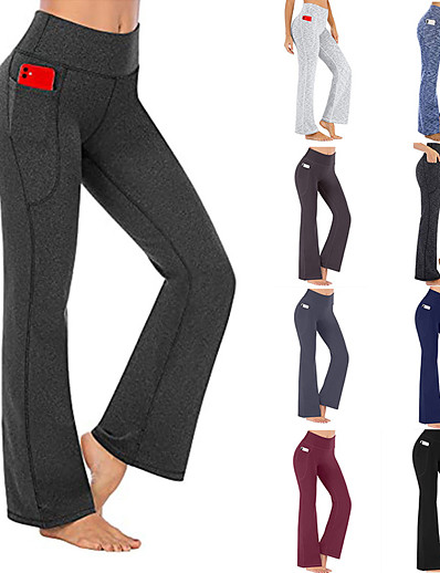 cheap Exercise, Fitness & Yoga-Women's Yoga Pants High Waist Bottoms Side Pockets Bootcut Solid Color Quick Dry Gray Black Dark Blue Yoga Fitness Gym Workout Summer Sports Activewear Micro-elastic / Athletic / Athleisure