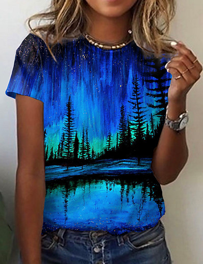 cheap Tees & T Shirts-Women's Floral Theme Abstract 3D Printed T shirt Graphic Scenery 3D Print Round Neck Basic Tops Blue Purple