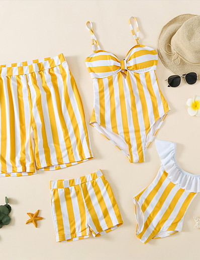 cheap Family Matching Outfits-Swimwear Family Look Casual / Daily Striped Print Blue Orange Sleeveless Vacation Matching Outfits