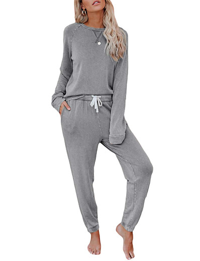 cheap Women's Clothing-Women's Loungewear Basic Home Daily Wear Wool & Polyester Blend Solid Color Hoodie Pajamas Fall & Winter Pant Long Sleeve Scoop Neck Belt Included Drawstring