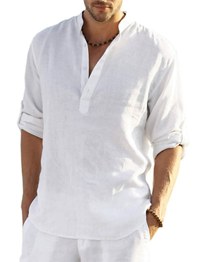 cheap Basic Collection-Men's Shirt Plain non-printing Daily Long Sleeve Tops Business Elegant Fashion Designer 100% Cotton Gray White Black