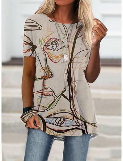 cheap Tees & T Shirts-Women's T shirt Portrait Graffiti Print Round Neck Tops Basic Basic Top Blue Purple Khaki