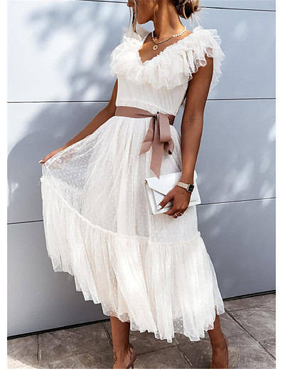 cheap Lace Dresses-Women's Midi Dress Swing Dress Blushing Pink White Short Sleeve Ruched Pleated Lace Solid Color V Neck Fall Spring Party Holiday Casual Puff Sleeve 2021 S M L XL XXL