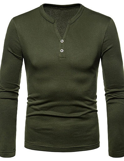 cheap Men's Clothing-Men's T shirt Solid Color Button-Down Casual Long Sleeve Tops Simple Basic Casual Army Green Black Navy Blue / Micro-elastic