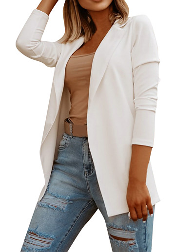 cheap Blazers-Women's Blazer Fall Spring Daily Work Regular Coat Breathable Regular Fit Business Formal Casual Jacket Long Sleeve Quilted Solid Color White Black
