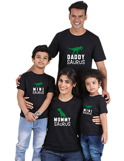 cheap Family Matching Outfits-Tops Cotton Family Look Daily Dinosaur Letter Print Gray White Black Short Sleeve Active Matching Outfits