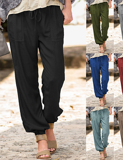 cheap Women's Clothing-Women's Athleisure Sports Jogger Pants Soft Sports Casual Daily Pants Full Length Solid Color Drawstring Pocket ArmyGreen Blue Wine Grey Khaki