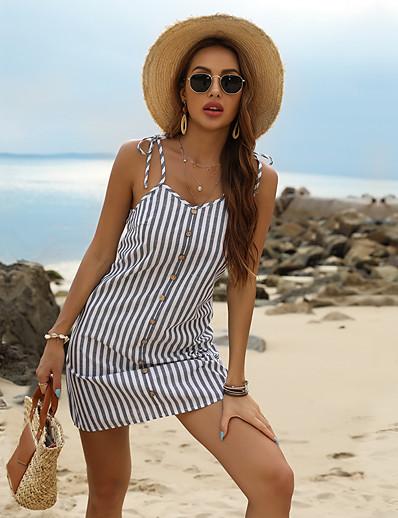 cheap Women's Clothing-LITB Basic Women's Striped Strap Skirt Bottoned decrative Skirt Daily Wear Basci Dress