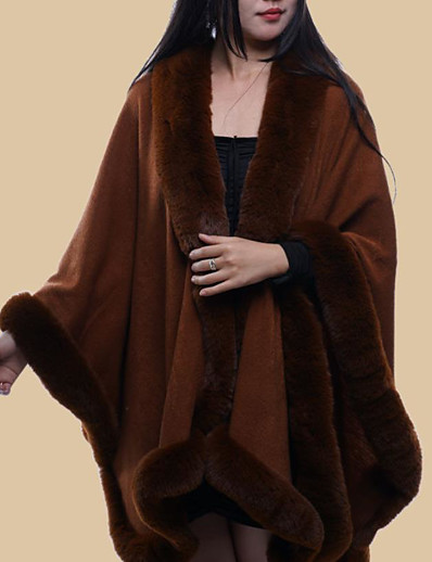 cheap 2021 Trends--womens cape poncho celebrity faux fur lined trimmed black