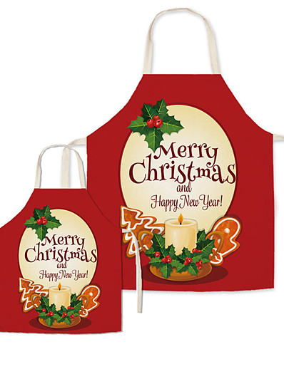 cheap Family Matching Outfits-Christmas Aprons Family Look Family Gathering Christmas Tree Letter Print Red Active Matching Outfits