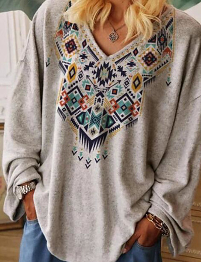 cheap Plus size-Women's Plus Size Tops Tribal Graphic Prints T shirt Print 3D Print V Neck Long Sleeve Fall Spring Casual Big Size / Regular Fit