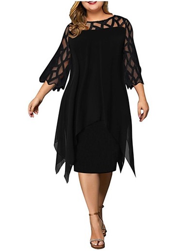 cheap Plus size-Women's Plus Size Dress Sheath Dress Knee Length Dress 3/4 Length Sleeve Solid Color Lace Casual Spring Summer White Purple Red Wine L XL XXL XXXL 4XL 5XL Chiffon