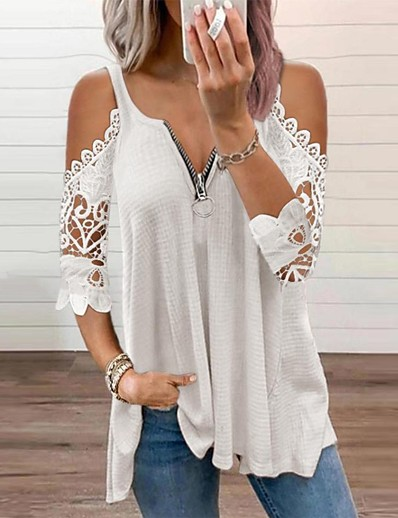 cheap Blouses & Shirts-Women's Holiday Blouse Eyelet top Shirt Plain V Neck Cut Out Zipper Lace Basic Streetwear Tops Regular Fit Cotton Blushing Pink White Black