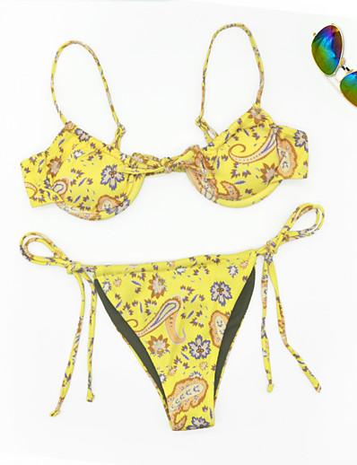 cheap Swimwear-Women's Bikini 2 Piece Swimsuit Floral Yellow Swimwear Bathing Suits New Casual Sexy