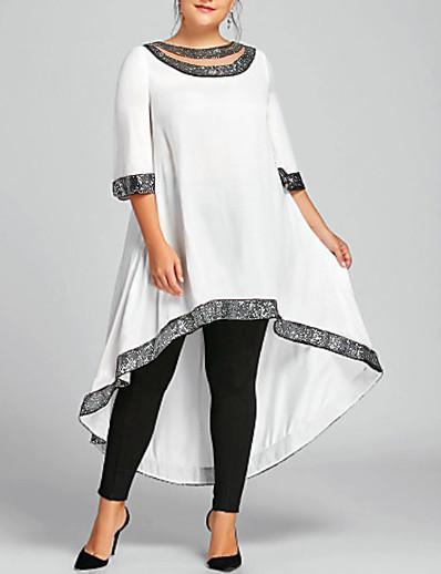 cheap Plus size-Women's Midi Dress Swing Dress Wine White Black Navy Blue Half Sleeve Clothing Solid Color Round Neck Fall Spring Work Basic Casual 2021 Regular Fit XL XXL 3XL 4XL 5XL / Plus Size / Chiffon