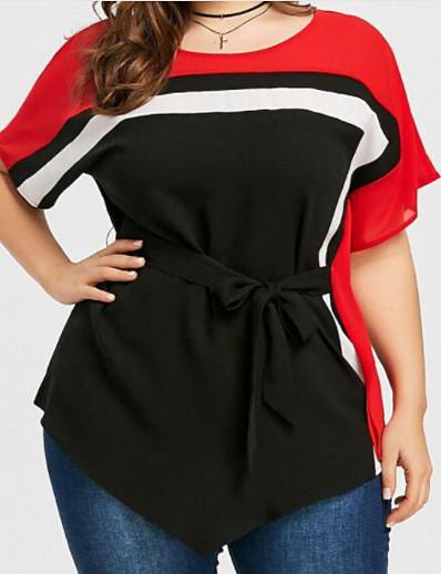 cheap Plus Size Tops-Women's Plus Size Tops Blouse Shirt Color Block Patchwork Round Neck Streetwear Black Big Size XL XXL 3XL 4XL 5XL