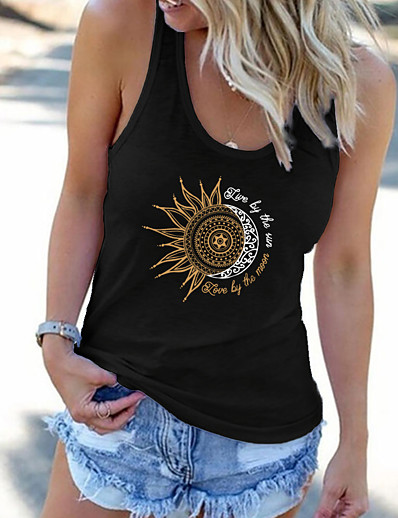 cheap Tank Tops-f_topbu tank tops for women, u-neck sleeveless vest summer printed tee off shoulder shirts casual workout blouse