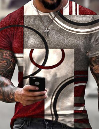 cheap Men's Tops-Men's Tee T shirt Shirt 3D Print Geometric 3D Graphic Prints Print Short Sleeve Daily Tops Casual Designer Big and Tall Round Neck Blue Red Black / Summer