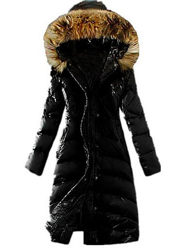 cheap Down& Parkas-Women's Padded Daily Winter Maxi Coat Hooded Standard Fit Casual Jacket Long Sleeve Solid Colored Khaki Black