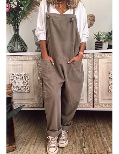 cheap Plus Size Jumpsuits-Women's Plus Size Jumpsuit Pocket Plain Sleeveless Basic Square Neck Summer khaki Black Dark Blue L XL XXL XXXL 4XL