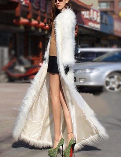cheap Furs & Leathers-Women's Faux Fur Coat Winter Wedding Going out Long Coat Thermal Warm Loose Streetwear Jacket Long Sleeve Fur Trim Patchwork Print White