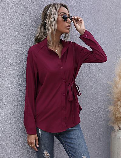 cheap Women's Tops-Women's Blouse Shirt Long Sleeve Plain Shirt Collar Lace up Button Basic Streetwear Tops Chiffon Wine Army Green