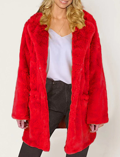 cheap Furs & Leathers-Women's Faux Fur Coat Daily Fall & Winter Long Coat Regular Fit Elegant & Luxurious Jacket Long Sleeve Solid Colored Fur Yellow Blushing Pink / Going out / Plus Size