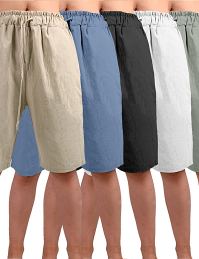 cheap Sportswear-Men's Yoga Shorts Shorts Drawstring Bottoms Bermuda Shorts Moisture Wicking Quick Dry Breathable Solid Color White Black Blue Casual Yoga Fitness Gym Workout Summer Sports Activewear