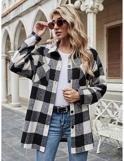 cheap Basic Collection-Women's Shirt Long Sleeve Plaid Shirt Collar Pocket Basic Vintage Tops Black