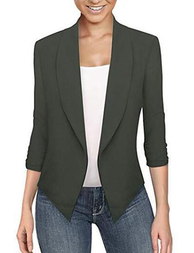 cheap Blazers-women's cardigan work office Blazer solid color lapel long sleeve Top open front short jacket coat(black, xxxl)
