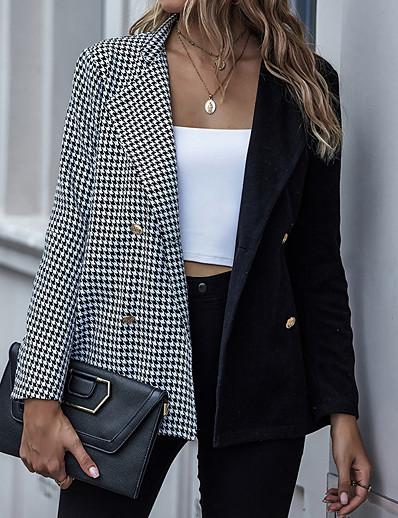cheap Blazers-Women's Trench Coat Patchwork Houndstooth Streetwear Long Sleeve Coat Going out Spring &  Fall Regular Open Front Jacket Black / Work / Regular Fit / Shirt Collar / Work