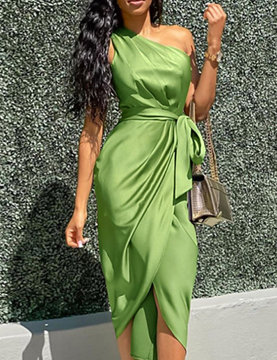 cheap Women-Women's Wrap Dress Midi Dress Army Green Sleeveless Solid Color Split Lace up Spring Summer One Shoulder Stylish Hot Sexy Holiday 2021 S M L XL
