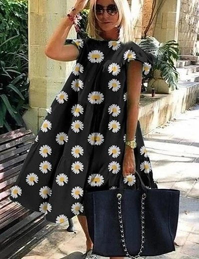 cheap Dresses-Women's A Line Dress Knee Length Dress Light Blue Pure black Daisy Pure rose red Pure color powder Daisy green Blushing Pink Green White Black Short Sleeve Floral Fall Spring Round Neck Casual Loose