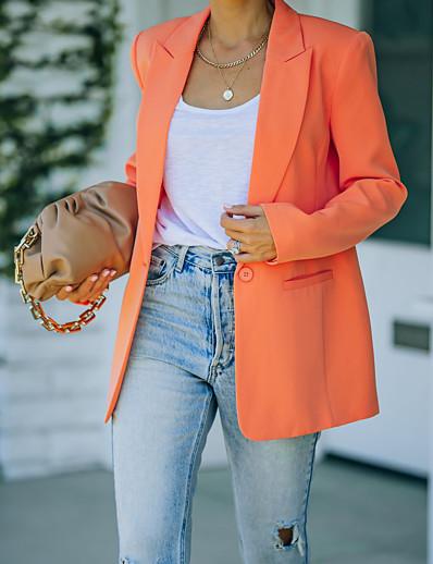 cheap Blazers-Women's Blazer Fall Spring Business Work Regular Coat Workout Fashion Regular Fit Elegant Casual Jacket Long Sleeve Pocket Button Solid Color Blushing Pink Green Orange