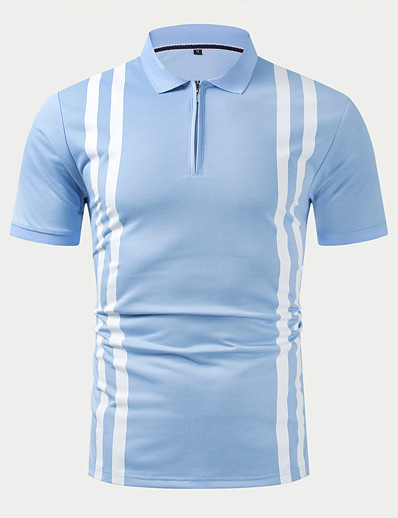 cheap Men's Clothing-Men's T shirt Color Block Zipper Casual Short Sleeve Tops Simple Basic Formal Fashion Light Blue / Wet and Dry Cleaning
