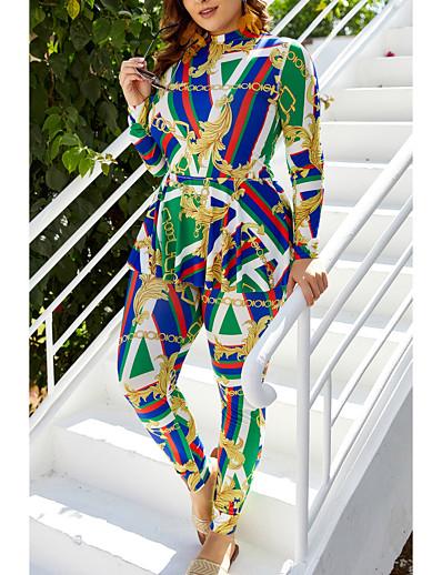 cheap Plus Size Swimwear-Women's Tankini 2 Piece Swimsuit Print Green Plus Size Swimwear High Neck Bathing Suits New Casual Vacation