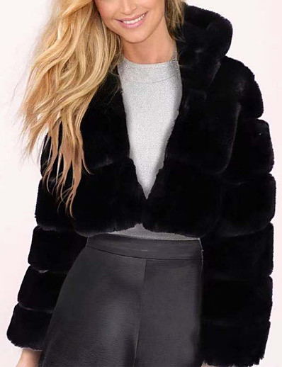 cheap Furs & Leathers-Women's Faux Fur Coat Fall Winter Spring Daily Outdoor clothing Date Short Coat Warm Regular Fit Chic & Modern Elegant & Luxurious Jacket Long Sleeve Fur Solid Colored Light gray Black Red