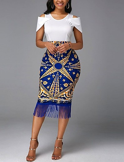 cheap Dresses-Women's Midi Dress Shift Dress Blue Short Sleeve Tassel Fringe Print Print Round Neck Fall Summer Elegant 2021 Regular Fit S M L XL XXL