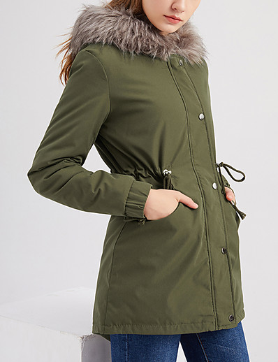 cheap Women's Outerwear-Women's Parka Long Coat Loose Jacket Solid Colored Army Green Black Red
