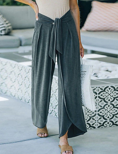 cheap Women's Bottoms-Women's Fashion Chino Breathable Going out Home Culottes Wide Leg Chinos Pants Solid Color Full Length Wide Leg Split Drawstring Pocket ArmyGreen Wine Gray Black Dark Blue