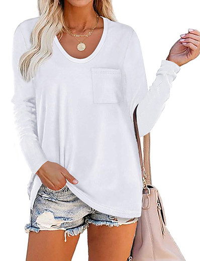 cheap Women's Clothing-Women's Blouse Shirt Plain V Neck Business Basic Elegant Tops Blue Wine Army Green